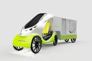 How a Peddlesmart urban vehicle will look attached to a trailer