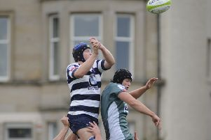 Heriot's and Hawick, who scored  nine tries between them, vie for the ball at a line'out. Picture: Andrew O'Brien