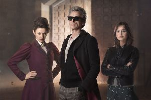 Michelle Gomez, left, with Peter Capaldi and Jenna Coleman. Picture: BBC/Simon Ridgway