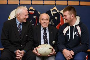 The late Jim Inglis, a Selkirk stalwart capped once for Scotland, pictured last year at Philiphaugh between John Rutherford, left, and Andrew Renwick. Picture: Stuart Cobley