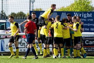 Douglas Gair (right) celebrates with his team mates after scoring to give Edinburgh City the lead. Picture: SNS