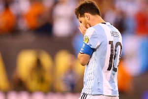 Lionel Messi turns away after missing a penalty kick during Argentina's Copa America final defeat to Chile. Picture: Getty
