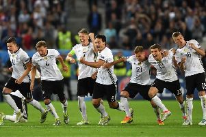 Germany players celebrate their penalty shoot-out win over Italy in the Euro 2016 quarter-final.  Picture: Laurence Griffiths/Getty Images