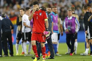 Italy goalkeeper Gianluigi Buffon leaves the pitch in tears. Picture: AP