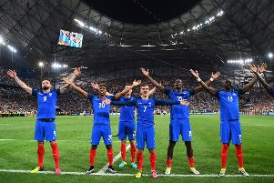 France celebrate after beating Germany 2-0 in the Euro 2016 semi-final. Picture: Getty Images