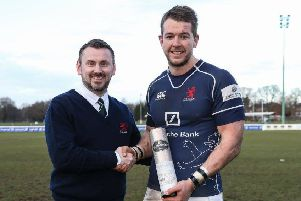 Cairnhill boss Neil Watson with London Scottish winger Jason Harries. Picture: Contributed