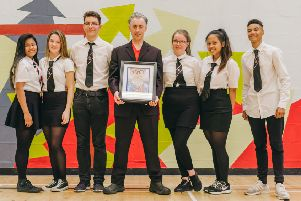 Pupils from Castlebrae Community High School met Alan Cumming. Picture: Mihaela Bodlovic