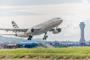 A plane takes off from Edinburgh. Picture: Ian Georgeson