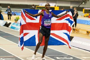 Sir mo Farah flies the flag for British Athletics at a Glasgow indoor meeting last year. Picture: John Devlin