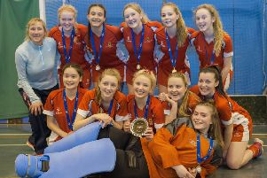 Craigholme School Under-18 hockey team, who have become the Scottish Indoor  Champions, with their coach, Wendy Justice.