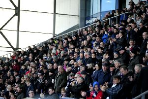 Falkirk fans at Falkirk Stadium for a home game against Dumbarton. Picture: TSPL