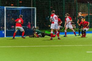 Stewart's Melville take the lead against Loretto as Robbie Croll, out of picture, opens the scoring.''Picture: Mark Pugh