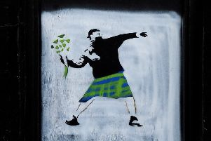 A 'Banksy' mural spotted in Kirkcaldy. Picture: SWNS
