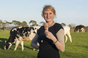 Lucy Bergius runs Over Langshaw Farmhouse Ice Cream from her family's 500-acre dairy farm. Photograph: Phil Wilkinson