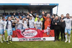 Forfar players celebrate promotion to Ladbrokes League One. Pic: SNS/Gary Hutchison