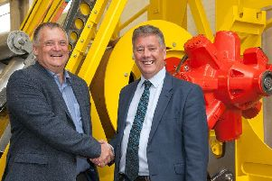 Keith Brown, right, with Kite Power Systems business development director David Ainsworth. Picture: Contributed