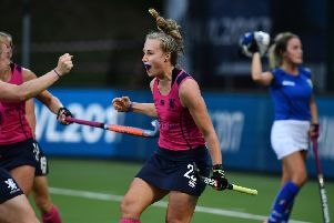 Katie Holmes celebrates pulling a goal back for Scotland during the 2-1 defeat by Italy at the Women's Hockey World League tie in Brussels. Picture: Charles McQuillan/Getty Images for FIH
