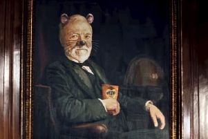 Andrew Carnegie, depicted as a mouse munching on Jacob's Mini Cheddars. Picture: SWNS