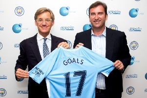 Goals chairman Nick Basing, left, with CFG chief executive Ferran Soriano. Picture: Contributed