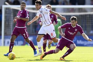 Ross County's Tim Chow (centre) gets away from Danny Denholm. Picture: SNS/Sammy Turner