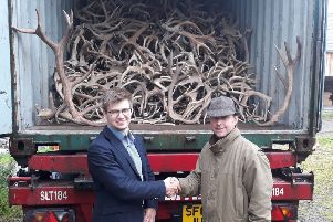 Deer farmer Rupert Shaw, right, with Hong Kong trading company boss Janis Varklas. Picture: NFU Scotland/PA Wire