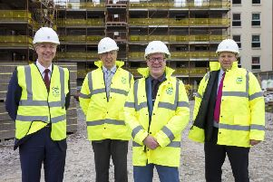 From left: Stuart Nicholson, loan investments director at Scottish Widows, Lar chairman Andrew Robertson, housing minister Kevin Stewart and Alan Brennan, relationship director at Bank of Scotland Commercial Real Estate. Picture: Newsline Media