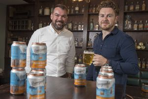 Scott MacDonald, left, with Brewgooder co-founder Alan Mahon. Picture: Contributed