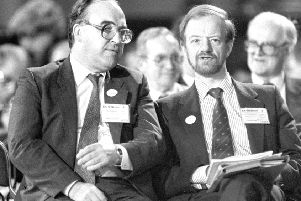 John Smith and Robin Cook at a Labour Party conference in Blackpool at a time when leader Neil Kinnock was fighting to make the party electable. Picture: PA