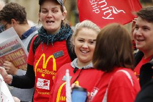 Demonstrators protest over working conditions and the use of zero-hour contracts at burger chain McDonald's. Picture: Getty