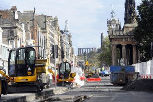 Tram works on Princes Street in 2011. Picture; Greg Macvean