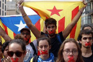 Catalans stage a silent demonstration after the violence of the independence referendum. Picture: Getty.