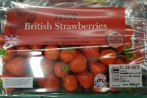 Strawberries grown in Kincardineshire with the Union flag