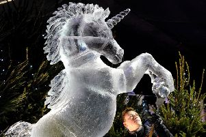 Frozen unicorn in George Street. Picture: Lisa Ferguson