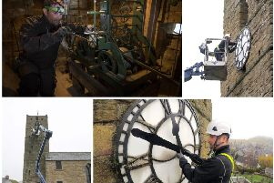 Dunning Parish Church's clock is being repaired. Pictures: Historic Environment Scotland