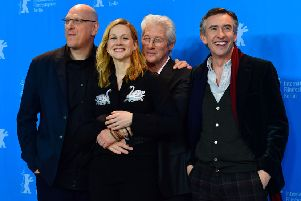 Richard Gere with The Dinner's director Oren Moverman, far left, and co-stars Laura Linney and Steve Coogan. Picture: AFP/Getty
