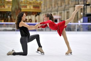 Georgia Hillman from Dundee is joined by British professional figure skater, Frankie Seaman on the ice at the Natural History Museum Ice Rink, London.