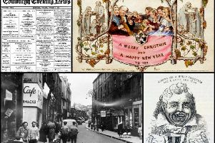 Clockwise from top left: Edinburgh Evening News reported the claim in the 1930s; England first Christmas card was released in 1843; Drummond's Christmas card dates from two years earlier; Drummond's shop was in the Kirkgate, Leith.