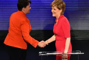 Sturgeon shakes Ruth Davidson's hand after a head-to-head TV debate. They should be able to find common ground on Scotland's future relationship with Europe. Picture: Jeff J Mitchell/Getty