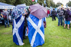 Independence supporters gather in Glasgow Green in 2016 on the second anniversary of the referendum which delivered a 10 point win for the pro-UK campaign. Picture: John Devlin/TSPL
