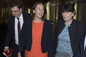 Former Labour leader Kezia Dugdale faced questions after arriving home in Scotland. Picture: SWNS