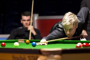 Wishaw's Chris Totten is forced to watch as former world champion Neil Robertson of Australia closes out their match in Glasgow. Picture: Bruce White/SNS
