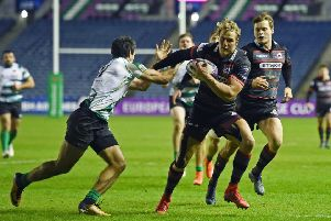 Edinburgh's Duhan van der Merwe runs through to score his late try. Picture: Paul Devlin/SNS