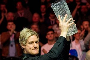 Neil Robertson holds aloft The Stephen Hendry trophy. Picture: Ross Parker/SNS