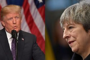 President Donald Trump and Prime Minister Theresa May discussed Jerusalem in a phone conversation. Pictures: Getty