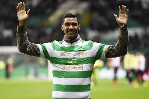 Celtic parade new signing Marvin Compper at half time during the match with Partick Thistle. Picture: PA
