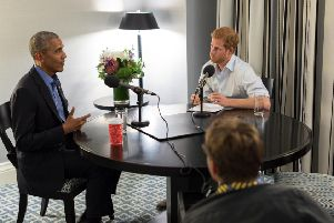 Prince Harry interviewing former US president Barack Obama, Picture: Getty Images
