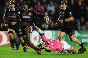 Edinburgh's late try-scorer Junior Rasolea drives forward against Stade Francais. Picture: Ian MacNicol/Getty Images