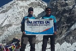 Sarah Marchbank with Brian Thomson at Everest Base Camp