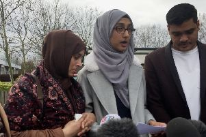 Ruzina Akhtar, daughter of Finsbury Park victim Makram Ali, reads a statement to the media outside Woolwich Crown Court. Picture: PA