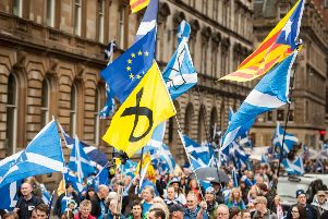 Pro-independence marchers make their way through Glasgow in September 2017. Picture: John Devlin
